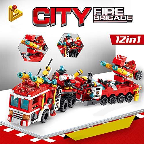 CMaster Montage Spielzeug City Feuerwehrauto-Spielzeugbausatz , 576 Stück STEM Konstruktionsspielzeug, 12-in-1 Kreatives Bausteine Spielzeug