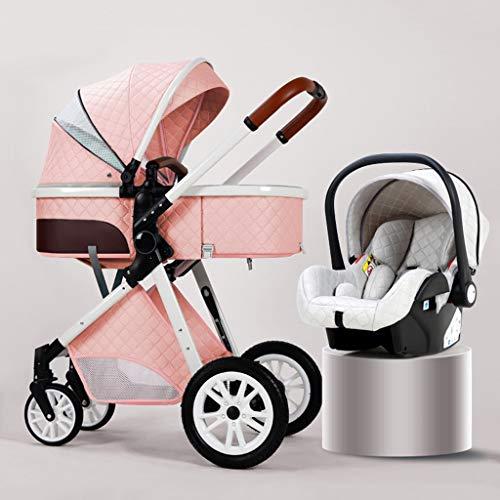 Nuevo cochecito de bebé 3 En 1 Cochecito De Bebé Plegable Sillas De Paseo Antichoque Springs High Vista del Carro De Bebé del Cochecito De Bebé, Cochecito de niño con ruedas de goma ( Color : Pink )