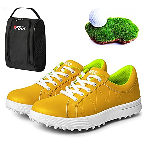 Shhyy Deportivas Golf Zapatillas Mujer,Deportivas Running Deporte Golf Casual Sneakers Comodos Correr Transpirables Gimnasia Fitness Calzadod+Golf Bolsa De Zapato,Amarillo,7US