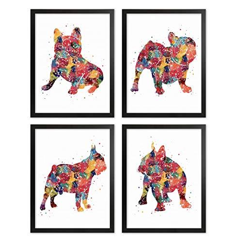 French Bulldog Watercolor Print Set Dog Wall Decor Pets Artworks Frenchie Wall Art Home Decor French Bulldog Lover Gift