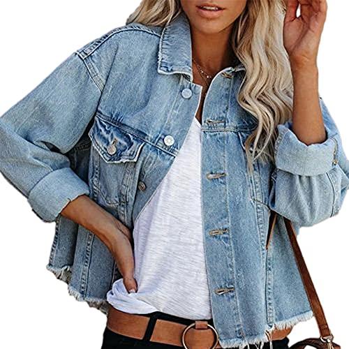 Huyghdfb Women 's Washed Denim Jacket Long Sleeve Button Down Loose Y2K Boyfriend Jean Jacket (Light Blue, X-Large)