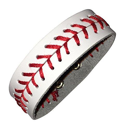 BallPark Leather White Leather Baseball Seam Bracelet Small