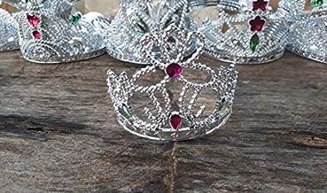 12 Coroas tiara princesa infantil Imitação Pedras Rubi Pingo
