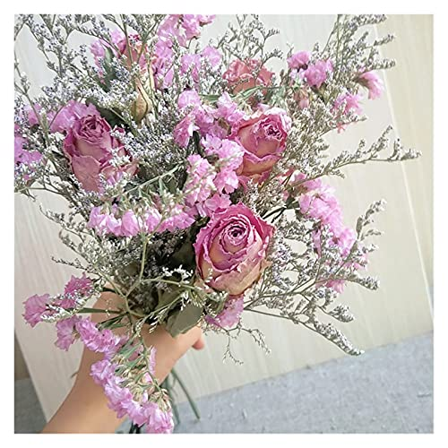 YTNGYTNG Flores Artificiales 30 cm Rosa Rosa Flores secas Naturales Ramo 5 Amantes de la Cabeza Grande Hierba Barato verdaderas Reales para Regalo casero decoración de Boda Dentro