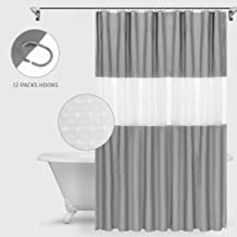 I-pure items Shower Curtain with 12 Hooks,100% Waterproof PEVA Extra Long Shower Curtains Set for Bathroom-78 x 72