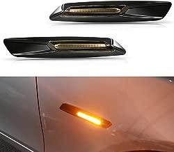 GemPro 2-Pack Amber LED Side Marker Turn Signal Light for BMW 1 3 5 Series E81 E82 E87 E88 E90 E91 E92 E93 E60 E61, Smoke Lens Style Black