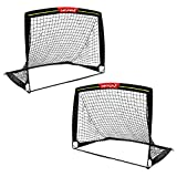 Wiel Soccer Goal, 4Ft x 3Ft Net Easy Fold-Up Training Goals W' Reflective Strips for Playing at Nightfall, Set of 2 for Family Team Kids Backyard Games