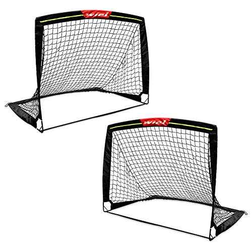 Wiel 4'x3' Kids Football Goal for the Garden, Foldable Training Soccer Pop Up Goals Net, W' Reflective Strips for Playing at Night, Children Outdoor Indoor Family Team Sport Games, Set of 2