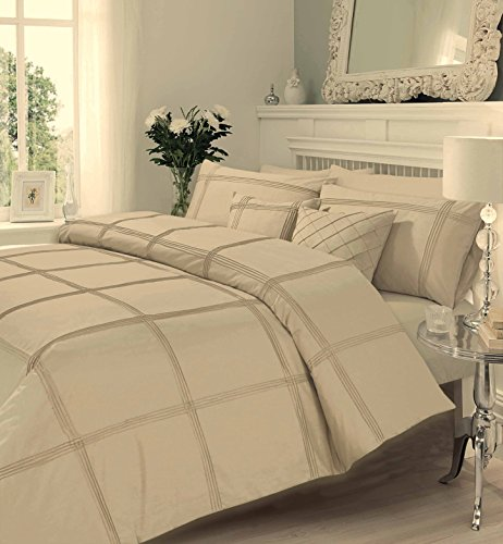 Gaveno cavalia Signature Collection Hamlet Set With Duvet Cover and Pillow Case Latte Double, Polyester-Cotton