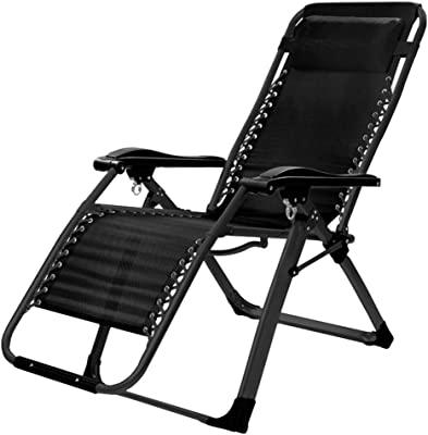 Outdoor Zero Gravity Lounge Chair for Relaxing| Garden Sun Lounger Reclining Chair| Folding Patio Lounge Recliners for Camping Beach Deck Max.150kg - Black
