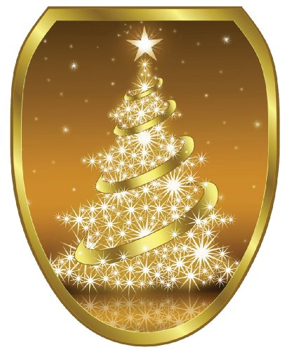 Toilet Tattoos, Toilet Seat Cover Decal, Gold Christmas Tree, Size Elongated