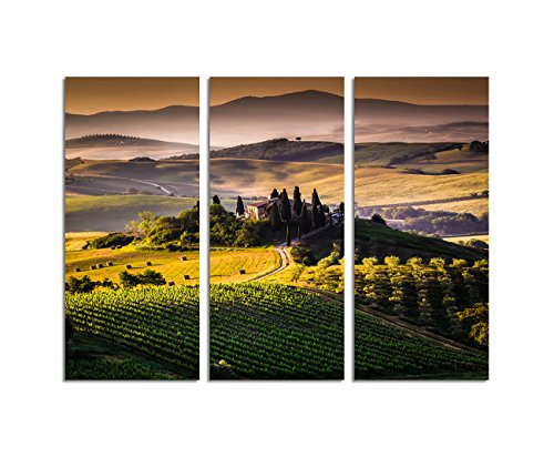 Paul Sinus Art 130x90cm – Kunstdruck Toskana Italien Landschaft Anwesen 3teiliges Wandbild auf Leinwand und Keilrahmen - Fotobild Kunstdruck Artprint