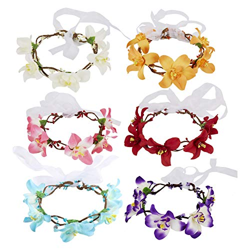6 Pack Boho Lily Flower Crown Floral Leaf Wreath With Ribbon Halo Headbands Hair Garland Wedding Bridal Elastic Headpiece Tiara Hairbands Festival Hawaiian Party Accessories for Kids Women Girl