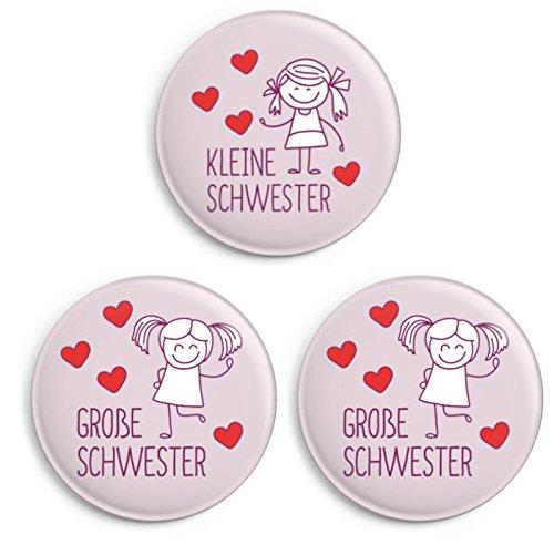 dabelino | Button-Set: 1x Kleine Schwester/ 2x Große Schwester (Ø 32 mm, Anstecker/Pin)