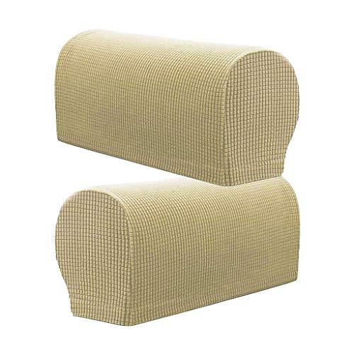 Monba 2 Stück karierte rutschfeste Stretch-Armlehnenbezüge, bequem und weich, maschinenwaschbar, Stuhl-/Sofa-Armlehnenschoner aus Flanell, beige