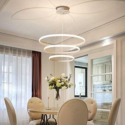 WANG-LIGHT LED Runder dreier Ring Pendelleuchte für Esszimmer Persönlichkeit Kreative LED Hängeleuchte Schlafzimmer Büro Hängelampe,Neutrallight,40 * 60 * 8090W