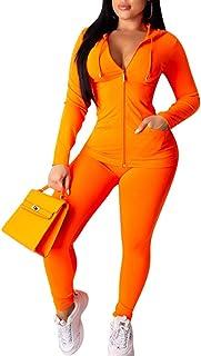 Two Piece Tracksuit for Women - Casual Long Sleeve Full Zip Hoodie Sweatshirt + Skinny Pants Yoga Workout Jogging Sets