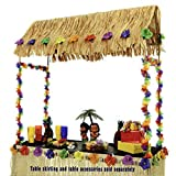 "This Tabletop Tiki Hut is perfect for topping off your Luau table decorations The 55"" high x 56"" wide x 22"" deep metal framed tiki hut bar top comes with artificial thatching, hibiscus flowers, decorative garland, and a rubber base on the bottom of e..."