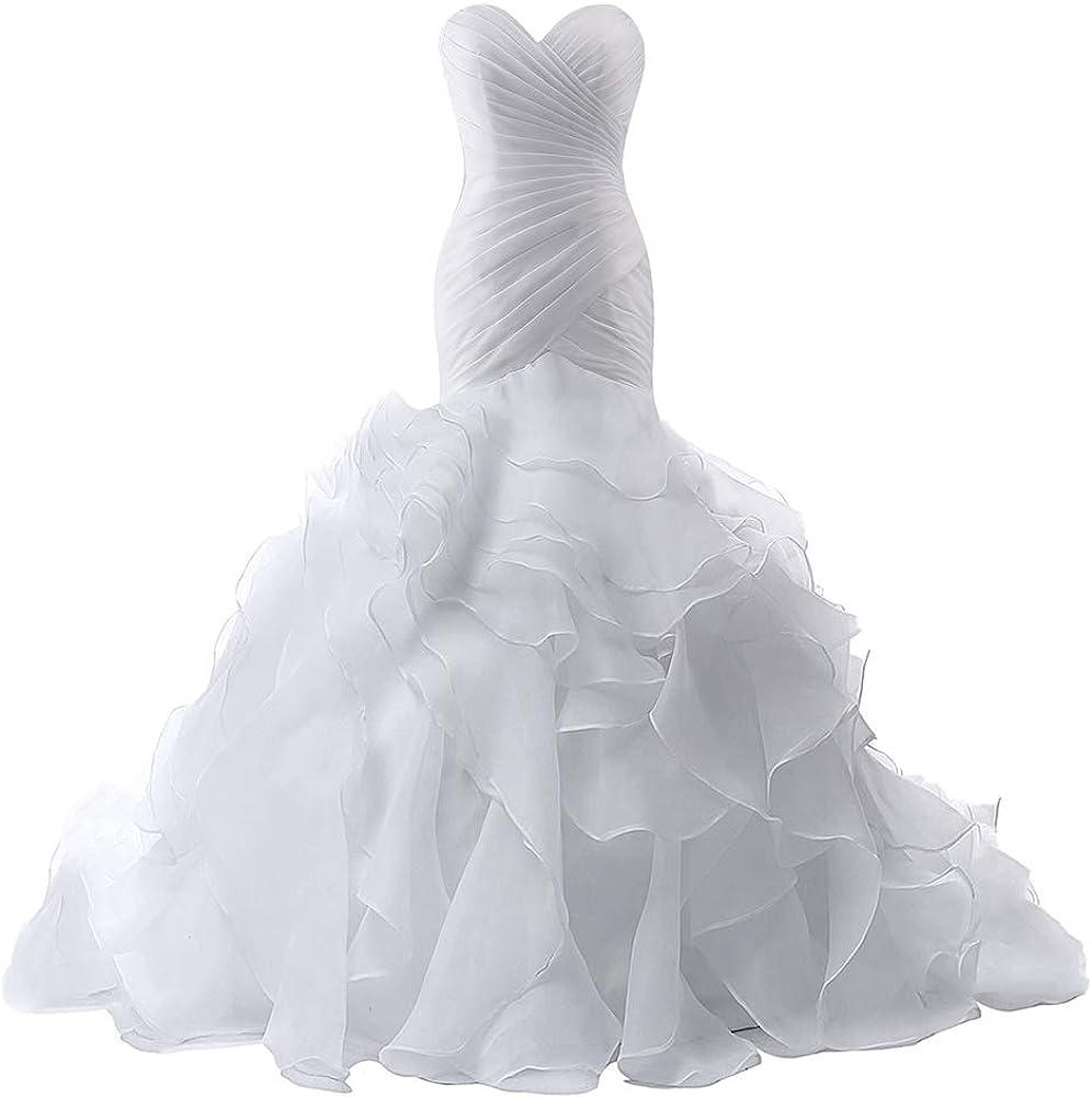 Wedding Dress for Bride Mermaid Bridal Gown Trumpet Wedding Gown for Women Ruffles Wedding Dresses