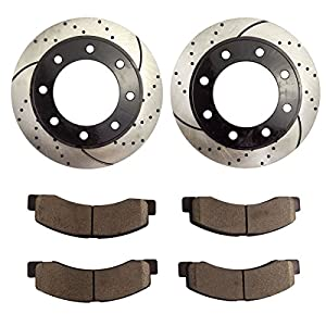 Atmansta QPD10040 Front Brake kit with Drilled/Slotted Rotors and Ceramic Brake pads for Ford Excursion F-250 Super Duty 4WD