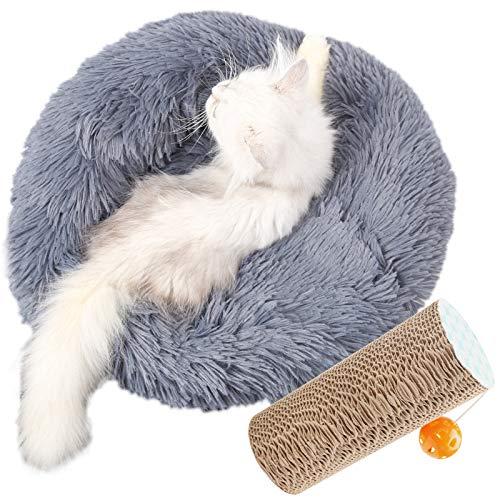 Liesun Cuccia per Gatti Cuscino Gatto, 40CM Cuccia Cane Taglia Grande, Letto per Cani Gatto, Cuccia Tonda Morbida per Animali, in Fondo Antiscivolo per Animali Rotondo Caldo Morbido