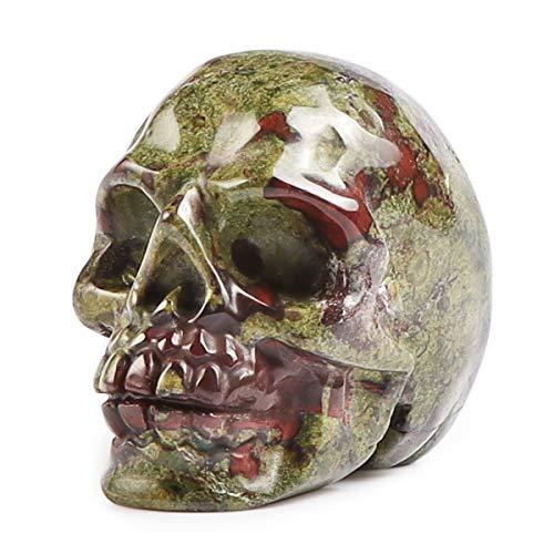 Artistone Skullis 2.0' Dragon Blood Jasper Crystal Skull, Hand Carved Gemstone Fine Art Sculpture, Reiki Healing Stone Statue