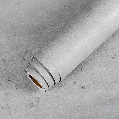 LaCheery Extra Thick Stained Concrete Wallpaper Peel and Stick Plain Grey Cement Contact Paper Vinyl Concrete Wall Paper Roll for Bedroom Wall Kitchen Countertops Table Plastered Effect 15.8 x 80 Inch