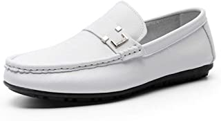 HUAHs0 Loafers for Men Walking Boat Shoes Slip on Genuine Leather Lightweight Flat Stitching Vegan Anti-slip Round Toe Metal Decor Massage` (Color : White, Size : 41 EU)