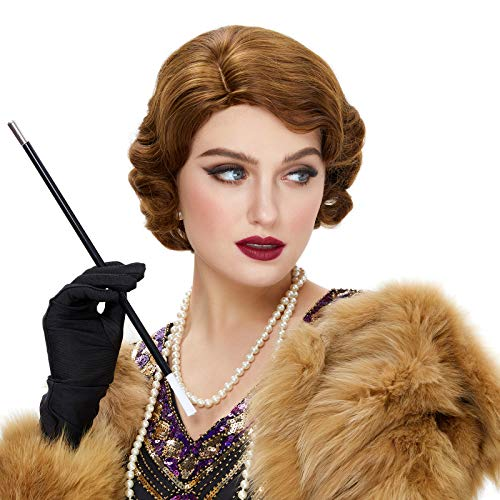 STfantasy Finger Wave Wig Short Curly Synthetic Hair for Women 1920s Cosplay Costume Halloween Party Daily Everyday Wear (Ombre Brown #27/33)