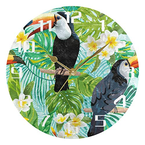 F17 - Reloj de pared redondo con diseño de hojas de palma tropicales de flores y pájaros, Toucan de 9.8 pulgadas de PVC, creativo, decorativo para cocina, dormitorio, baño, sala de estar