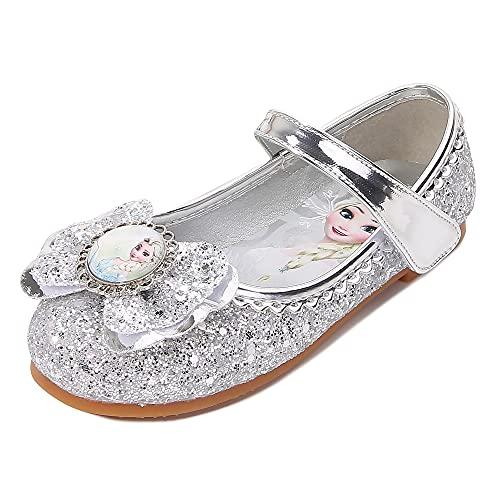 Eleasica Zapatos Bajos Planos para niñas pequeñas, Disfraz de Princesa Zapatos de Baile Brillantes, Retrato de Princesa Elsa Punta Cerrada, Adorno Lazo, Gran Regalo para Fiesta, Ceremonia de Boda
