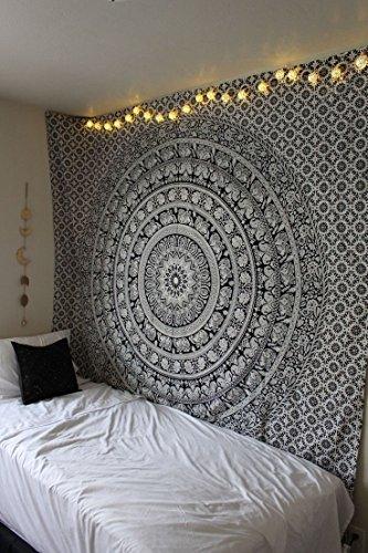 Mandala Hippie Wandteppich - Dekorativ Schwarz Weiß Elefant Mandala Tapisserie Böhmische indische Wandbehänge wandtuch Tagesdecke für Wohnzimmer, Schlafzimmer, Picknick - 127x152 cm