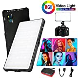 Pixel RGB LED Video Light,Full Color Rechargeable Pocket Sized On-Camera Video Light with Bi-Color 3200k-5600k and 9 Applicable Situations, 360° Adjustable Support System