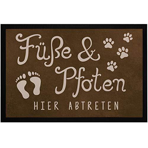 MoonWorks® Fußmatte Füße und Pfoten Hier abtreten Spruch lustig Hund Katze Haustier-Besitzer rutschfest & waschbar Pfote 2 schwarz 60x40cm