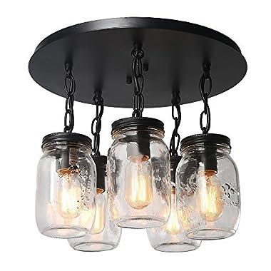 LNC 5-Light Glass Mason Jar Ceiling Lights Flush Mount Ceiling Light