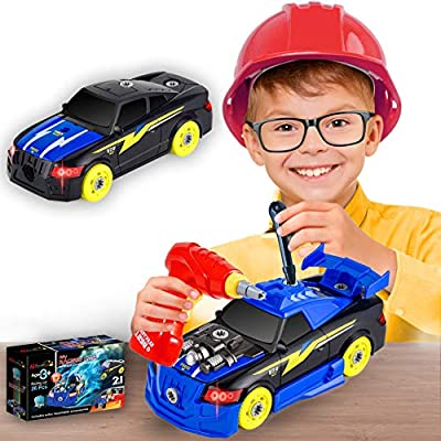 Take Apart Race Car Toys STEM Activities Toys Vehicle Build Your Own Car kit Constructions Set Best Birthday Gift for Boys and Girls Age 3 4 5 6 7 8 Car with Engine Sounds & Lights Assembly Set