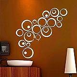 24 pezzi specchio mosaico adesivi murali cerchi, rimovibile fai da te 3d circolare adesivo wall sticker parete tatoo art autoadesivo incollaggio per camera da letto, soggiorno,decorazioni per la casa