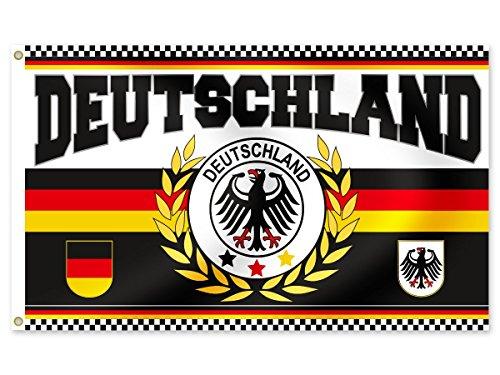 Alsino Deutschland Fanartikel Fan-Artikel Fußball EM WM Hut Brille Perücke Fahne, Fanartikel wählen:FL-26 Fahne 150 x 90 cm