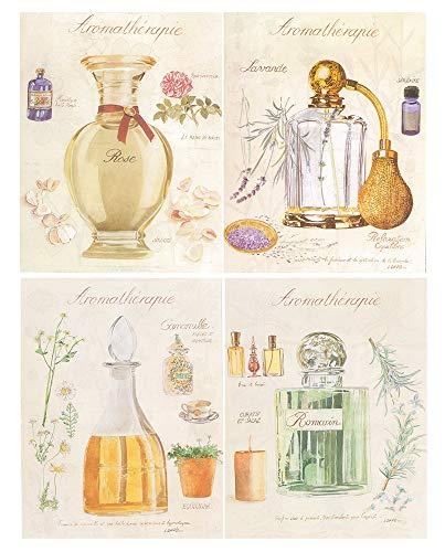 Dcine Cuadro Madera Pintura perfumes/Elegante. Set de 4 Unidades de 19 cm x 25 cm x 4 mm unid. Adhesivo FÁCIL COLGADO. Adorno Ideal para Hogar/Baño/Habitación/Regalo