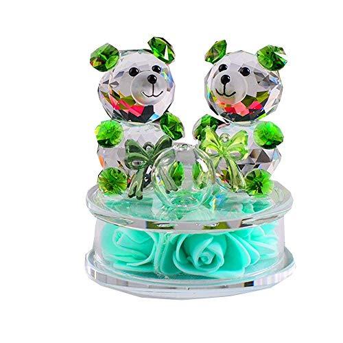 AMITD Rose Bloem Crystal Glass Dieren beer figuren Ornamenten Kerstmis Home Auto Decoration Parfum Fles Feng Shui begrip geschenk (Groen)