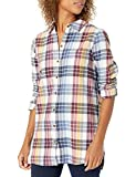 Amazon Brand - Goodthreads Women's Flannel Relaxed Fit Boyfriend Tunic Shirt, Multi-Color Plaid,Small