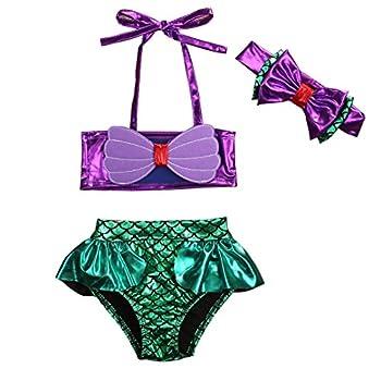 3Pcs/Set Kids Toddler Baby Girl Mermaid Swimsuits Halter Swimwear