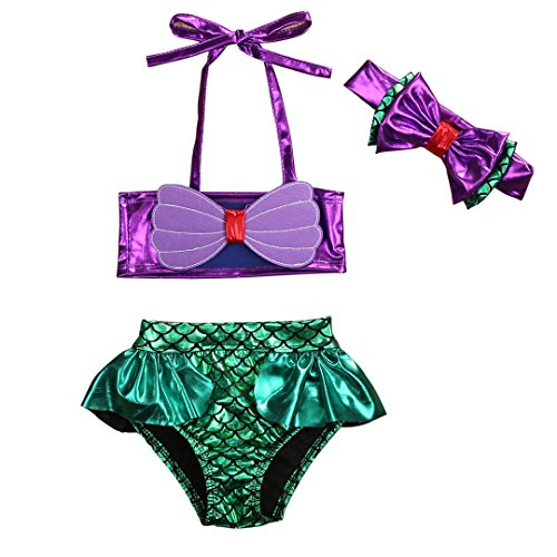 3Pcs/Set Kids Toddler Baby Girl Mermaid Swimsuits Halter Swimwear Bikini Set with Headband (Purple+Green, 80/6-12 Months)