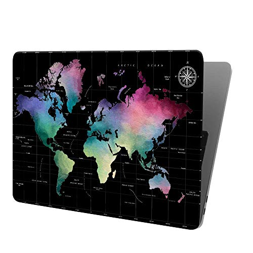 Lapac Compatible with MacBook Air 13 Inch World Maps Case 2020 2019 2018 Release A2337 M1 A2179 A1932, Black Hard Shell Case & Retina Fits Touch ID with Keyboard Cover, Mac Air 13 in Case with Design