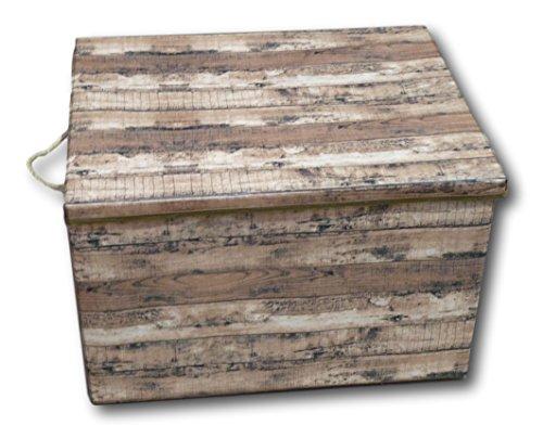 Urban Design Aufbewahrungsbox Aufbewahrung Box Kiste faltbar mit Deckel und Trageseil aus Stoff im Holz Retro-Look (Gross, braun)