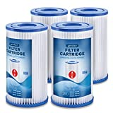 SPRODUCE Type A or C Filter Cartridge [Set of 4] Replacement Cartridge Pool Filters for INTEX Cartridge Filter Pump Models #28633EG, 28603EG, 28635EG - Type A/C Pool Filter for Above Ground Pools.