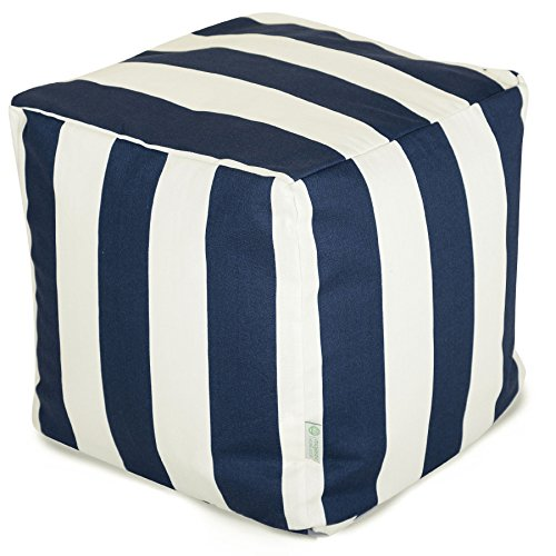 Majestic Home Goods Vertical Stripe Cube, Small, Navy Blue
