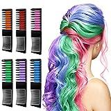 Haarkreide für Kinder - Linlook Haarfarbe Kamm Temporär Haarfarbe Kreide Kamm für Mädchen Haarfärbemittel Karneval Party und Cosplay 6 Stück
