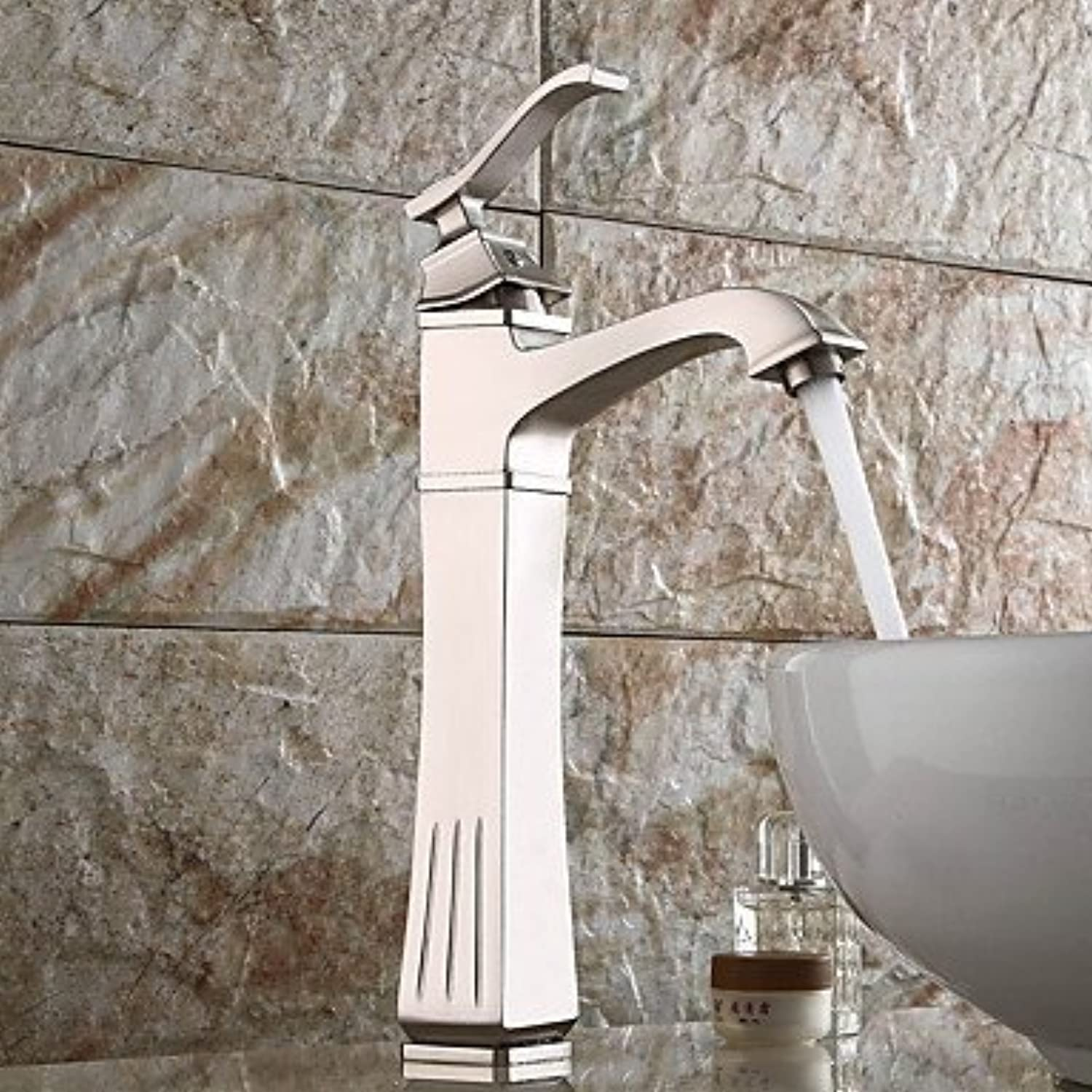 YI KUI Basin Faucets High Quality Brushed Nickel Personalized Single Lever Bathroom Sink Faucet (Hight)