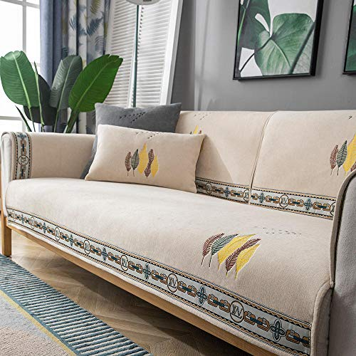 Homeen Chaise Louge Furniture Protector kitchen/Lounge Sofa Protector Cover,1/2/3/4 seater Embroidered couch shield,universal non-slip sofa cushion cover-Beige_110*160cm